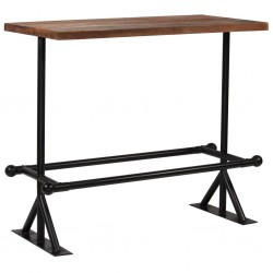 stradeXL Stół barowy, lite drewno z odzysku, ciemny brąz, 120x60x107 cm