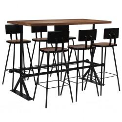 stradeXL 7-częściowy zestaw mebli barowych, lite drewno z odzysku