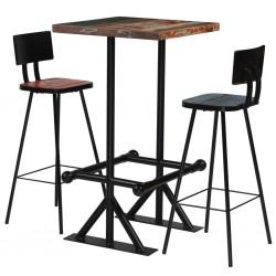 stradeXL 3-częściowy zestaw mebli barowych, drewno z odzysku, kolorowy