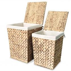 stradeXL Laundry Basket Set 2 Pieces Water Hyacinth