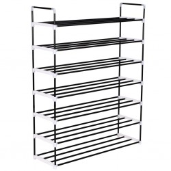 stradeXL Shoe Rack with 7 Shelves Metal and Plastic Black