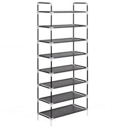 stradeXL Shoe Rack with 8 Shelves Metal and Non-woven Fabric Black