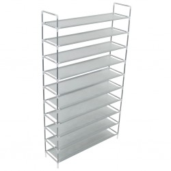 stradeXL Shoe Rack with 10 Shelves Metal and Non-woven Fabric Silver