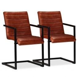 stradeXL Krzesła stołowe, 2 szt., brązowe, skóra naturalna