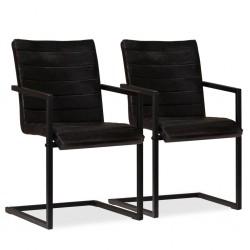stradeXL Krzesła stołowe, 2 szt., antracytowe, skóra naturalna