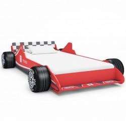 stradeXL Łóżko dziecięce w kształcie samochodu, 90x200 cm, czerwone