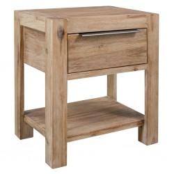 stradeXL Stolik nocny z szufladą, 40 x 30 x 48 cm, lite drewno akacjowe