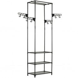 stradeXL Clothes Rack Steel and Non-woven Fabric 55x28.5x175 cm Black
