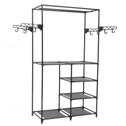 stradeXL Clothes Rack Steel and Non-woven Fabric 87x44x158 cm Black