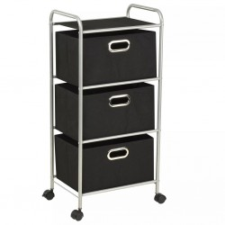 stradeXL Shelving Unit with 3 Storage Boxes Steel and Non-woven Fabric