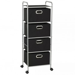 stradeXL Shelving Unit with 4 Storage Boxes Steel and Non-woven Fabric