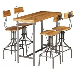 stradeXL 5-częściowy zestaw mebli barowych, lite drewno tekowe z odzysku