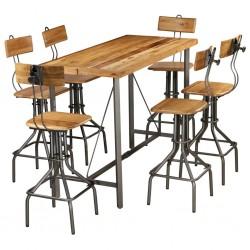 stradeXL 7-częściowy zestaw mebli barowych, lite drewno tekowe z odzysku