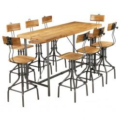 stradeXL 9-częściowy zestaw mebli barowych, lite drewno tekowe z odzysku