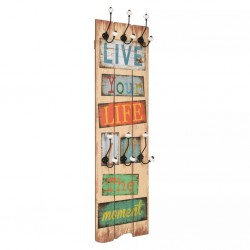 stradeXL Wall-mounted Coat Rack with 6 Hooks 120x40 cm LIVE LIFE
