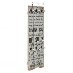 stradeXL Wall-mounted Coat Rack with 6 Hooks 120x40 cm THANK YOU