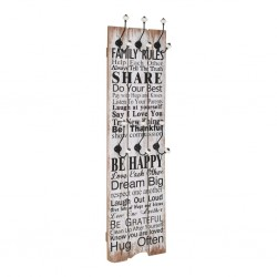 stradeXL Wall-mounted Coat Rack with 6 Hooks 120x40 cm FAMILY RULES
