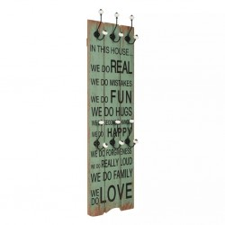 stradeXL Wall-mounted Coat Rack with 6 Hooks 120x40 cm HAPPY LOVE