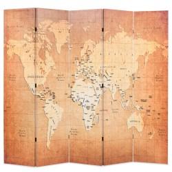 stradeXL Składany parawan, 200x170 cm, mapa świata, żółty