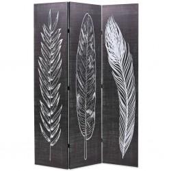 stradeXL Składany parawan, 120x170 cm, motyw piór, czarno-biały
