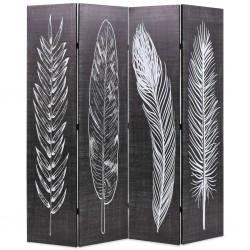 stradeXL Składany parawan, 160x170 cm, motyw piór, czarno-biały