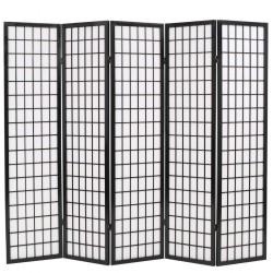 stradeXL Składany parawan 5-panelowy w stylu japońskim, 200x170, czarny