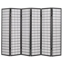 stradeXL Składany prawan 6-panelowy w stylu japońskim, 240x170, czarny
