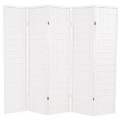 stradeXL Składany parawan 5-panelowy w stylu japońskim, 200x170, biały