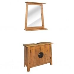 stradeXL Zestaw mebli do łazienki, lite drewno sosnowe z odzysku