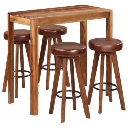 stradeXL Zestaw mebli barowych, 5 części, drewno sheesham, 115x56x107 cm
