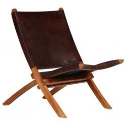stradeXL Krzesło składane, brązowe, skóra naturalna