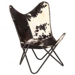 stradeXL Krzesło motyl, czarno-białe, naturalna kozia skóra