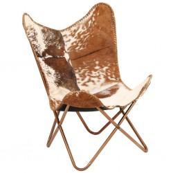 stradeXL Krzesło motyl, brązowo-białe, naturalna kozia skóra