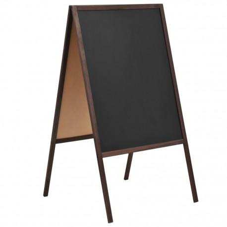 stradeXL Dwustronna tablica kredowa, stojąca, drewno cedrowe, 60 x 80 cm