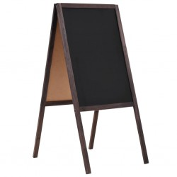 stradeXL Dwustronna tablica kredowa, stojąca, drewno cedrowe, 40 x 60 cm