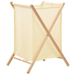 stradeXL Kosz na pranie, drewno cedrowe i tkanina, beżowy, 42x41x64 cm