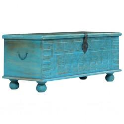 stradeXL Skrzynia z litego drewna mango, niebieska, 100 x 40 x 41 cm