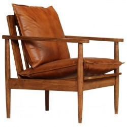 stradeXL Fotel, brązowy, skóra naturalna i drewno akacjowe