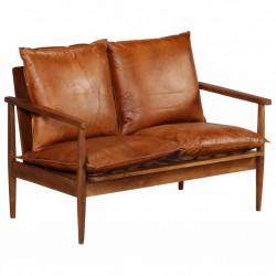 stradeXL 2-osobowa sofa z prawdziwej skóry i drewna akacjowego, brązowa