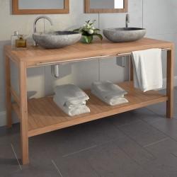 stradeXL Szafka łazienkowa pod 2 umywalki, drewno tekowe, 132x45x75 cm