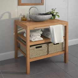 stradeXL Szafka łazienkowa pod umywalkę z 2 koszami, drewno tekowe