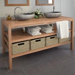 stradeXL Szafka łazienkowa pod umywalkę z 4 koszami, drewno tekowe
