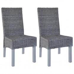 stradeXL Krzesła stołowe, 2 szt., szare, rattan Kubu i drewno mango