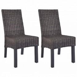 stradeXL Krzesła stołowe, 2 szt., brązowe, rattan Kubu i drewno mango