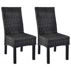 stradeXL Krzesła stołowe, 2 szt., czarne, rattan Kubu i drewno mango