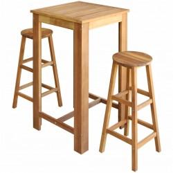 stradeXL Stolik i stołki barowe, 3 elementy, lite drewno akacjowe