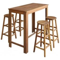 stradeXL Stolik i stołki barowe, 5 elementów, lite drewno akacjowe