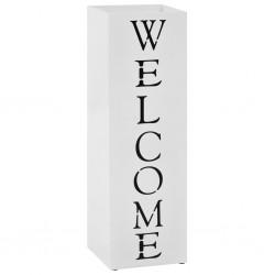 stradeXL Stojak na parasole, z napisem Welcome, stalowy, biały