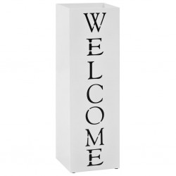 stradeXL Umbrella Stand Welcome Steel White
