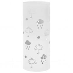 stradeXL Stojak na parasole, wzór w parasole, stalowy, biały